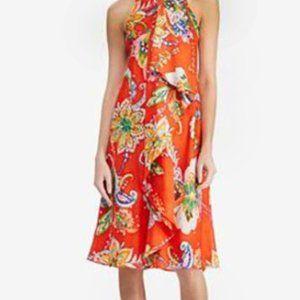 Ralph Lauren | Bold orange print dress